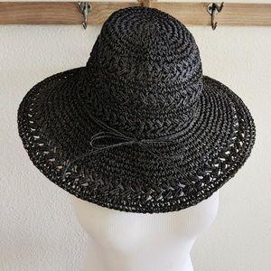 Scala black paper summer sun hat